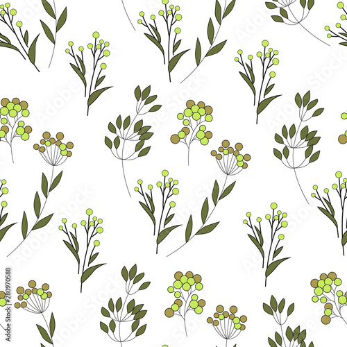 Fototapety, obrazy: Texture with flowers and plants. Floral ornament. Original flowers pattern.