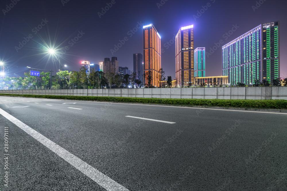 Fototapety, obrazy: empty city road at night