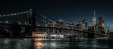 Fototapeta New York - Brooklyn Bridge and Jane's Carousel with views of downtown Manhattan
