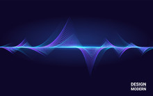 Abstract Colorful Wave Element For Music Design With Equalizer. The Dynamic Line On A Dark Background. Big Data. Concept Sound. Technology Science.