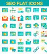 SEO Search engine optimization flat icons. Vector illustration
