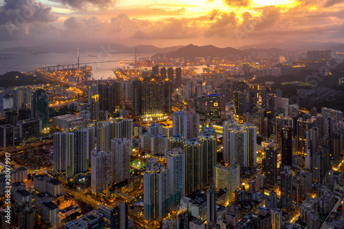 Hong Kong city Aerial view with Beautiful sunset Wallpaper Mural