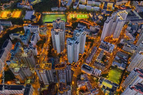 Hong Kong city Aerial view Canvas Print