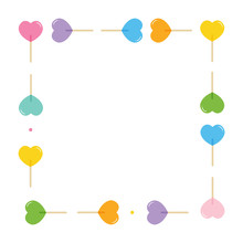 Vector Frame, Card Template With Colorful Cartoon Style Heart-shaped Lollipops, Candies, Sweets.
