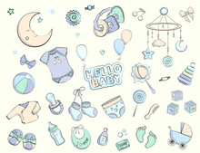 Newborn Infant Themed Doodle Set.