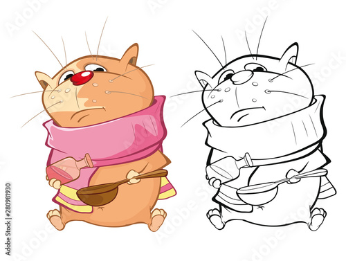 Poster Chambre bébé Vector Illustration of a Cute Cartoon Character Cat for you Design and Computer Game. Coloring Book Outline Set