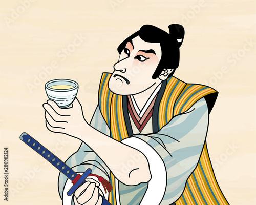 Ukiyo e kabuki actor enjoying sake Wallpaper Mural