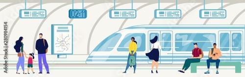 Pinturas sobre lienzo  Subway on Railroad Underground Station Vector