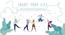 Enjoy Your Life Flat Vector Banner Web Template
