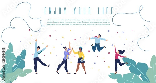 Fotografie, Obraz Enjoy Your Life Flat Vector Banner Web Template
