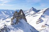 Fototapeta Kawa jest smaczna - Austrian Alps in winter.Alpine Alps mountain landscape at Tirol, Top of Europe