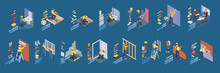 Home Repair Isometric Icons Set With Workers, Tools. Vector.