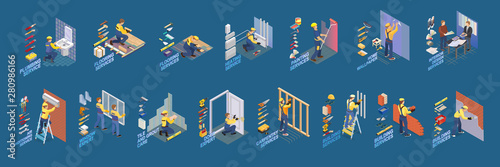 Obraz Home repair isometric icons set with workers, tools. Vector. - fototapety do salonu