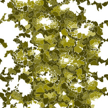 Abstract Art Nature Organic Backdrop. Bright Green Floral Vector Seamless Pattern. Silhouettes Of Abstract Flowers On White Background. Ornate Template For Design, Wallpaper, Banner, Border, Poster.