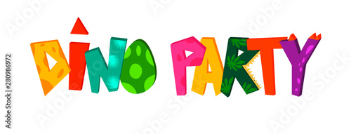 Stampa su Tela Dino party cute hand lettering text