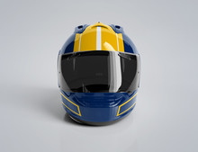 Blue And Yellow Motorcycle Hel...