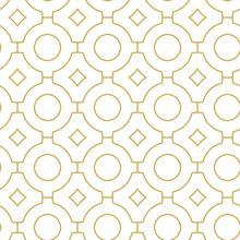 Monochrome Linear Quatrefoil Ornament. Seamless Geometric Vector Pattern In Gold Color