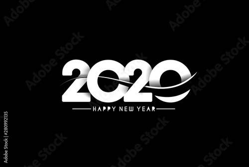 Happy New Year 2020 Text Design  Patter, Vector illustration. - 280992135