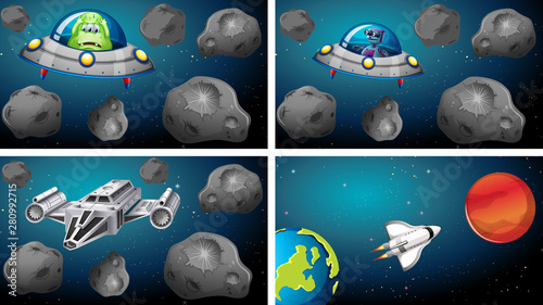 In de dag Kids Set of space ships in scene