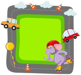 Elephant and card frame scene