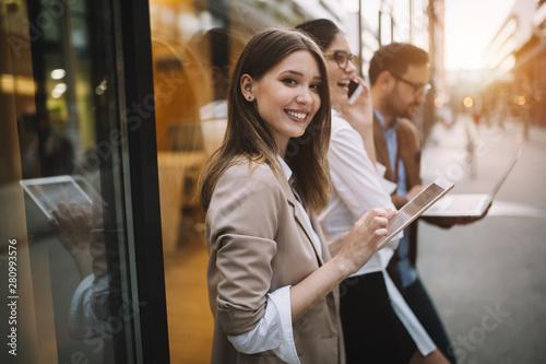 fototapeta na ścianę Portrait of happy business friends enjoying the break from meeting