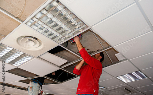 Suspended ceiling with drywall and fixing the drywall to the ceiling metal frame Fototapeta