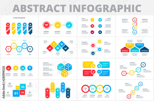 Photo  Abstract infographic elements set