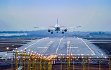 Airplane Landing To Airport Runway