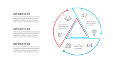 Thin Line Cycle Infographic With Arrows. Modern Concept Design Template With 3 Options, Steps Or Parts. Flat Vector Illustration For Business Presentation