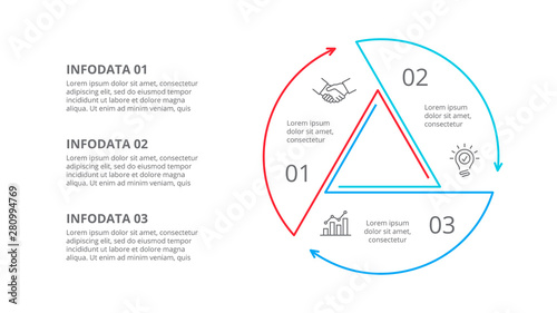 Foto Thin line cycle infographic with arrows