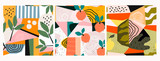 Hand drawn peaches, pear, leaves and various shapes, spots, dots and lines. Pastel colors. Set of three abstract contemporary patterns. Modern patchwork illustrations in vector