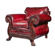 Antique Red Leather Arm Chair Carved Legs Isolated