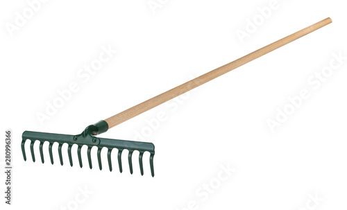 Obraz na plátně Metal rake with wooden handle isolated on white background