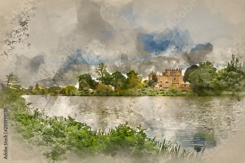 Poster Olive Digital watercolour painting of Landscape image of old Victorian house viewed across lake on Summer day.