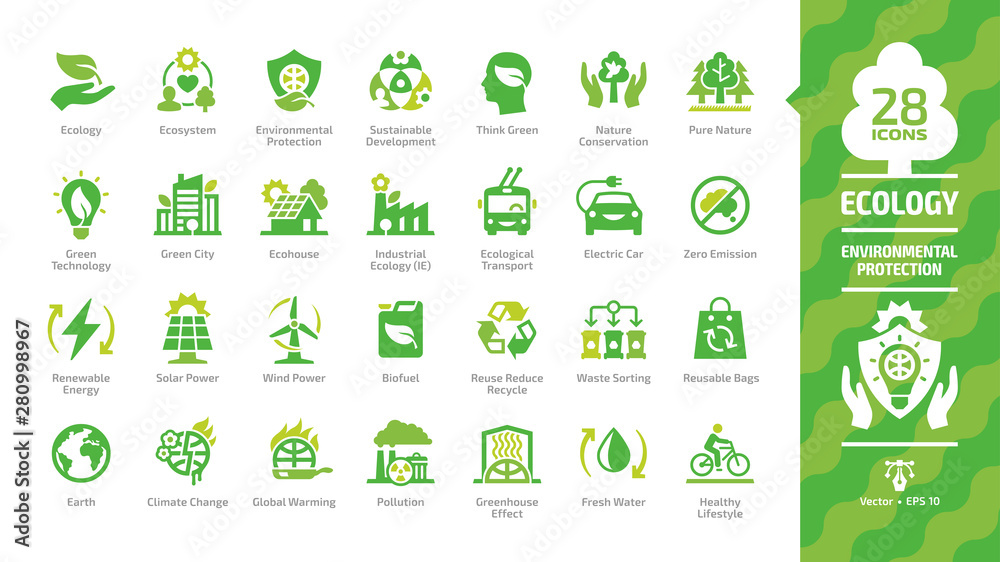 Fototapeta Ecology green icon set with ecological city, eco technology, renewable energy, environmental protection, sustainable development, nature conservation, climate change and global warming symbols.