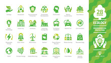 Ecology Green Icon Set With Ec...