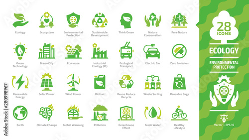 Ecology green icon set with ecological city, eco technology, renewable energy, environmental protection, sustainable development, nature conservation, climate change and global warming symbols Canvas