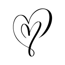 Two Vector Black Hearts Sign. ...