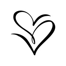 Two Vector Black Hearts Sign. Icon On White Background. Illustration Romantic Symbol Linked, Join, Love, Passion And Wedding. Template For T Shirt, Card, Poster. Design Flat Element Of Valentine Day