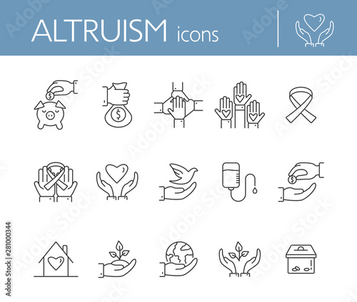 Fototapeta Altruism icons. Line icons collection on white background. Charity, blood donation, charity box. Donation concept. Vector illustration can be used for topics like helping hand, support, funding obraz na płótnie