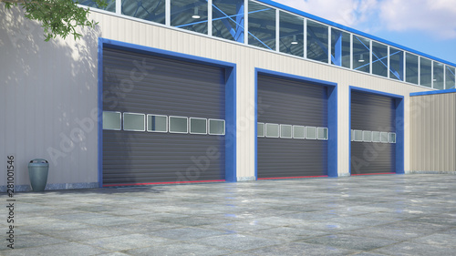 Foto  Hangar exterior with rolling gates. 3d illustration