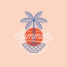 Summer Vibes Logo, Poster And Banner Design In Trendy Linear Style - Lettering And Icons