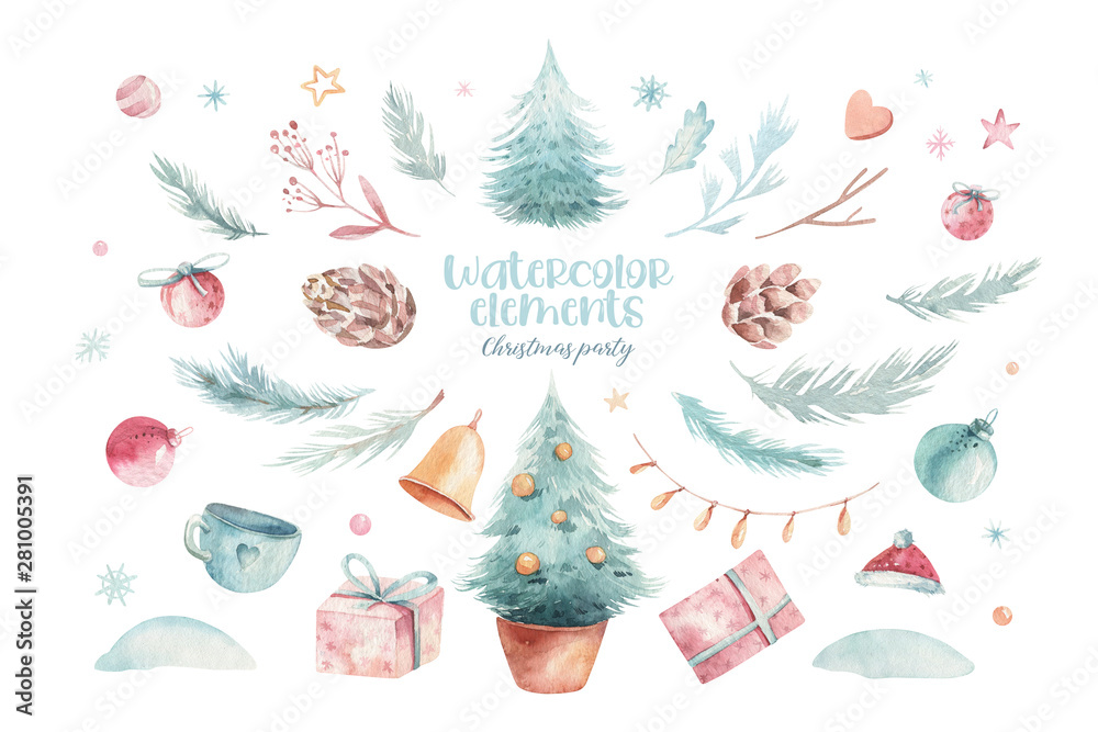 Fototapety, obrazy: Christmas holiday mood. Hand drawn watercolor illustration. A set of objects in Chrismas theme. Pine cones, floral branches, red berries, christmas tree and a gift box on the white background.