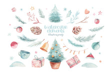Christmas Holiday Mood. Hand Drawn Watercolor Illustration. A Set Of Objects In Chrismas Theme. Pine Cones, Floral Branches, Red Berries, Christmas Tree And A Gift Box On The White Background.