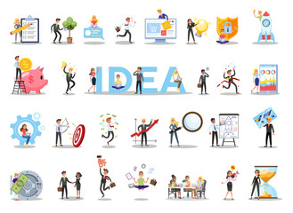 Business teamwork set. Collection of people working in team