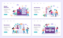 Recruitment Web Banner Concept Set. Job Interview