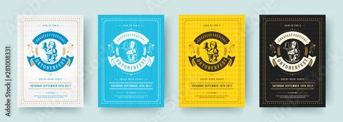 Fotografia Oktoberfest flyers or posters retro typography vector templates design invitations beer festival celebration