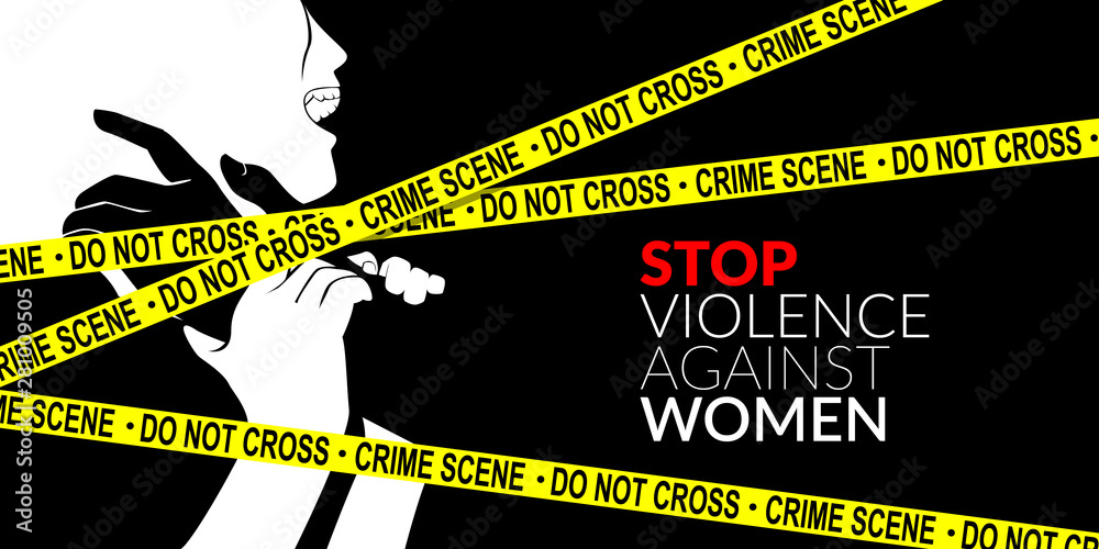 Fototapeta man are using force to coerce woman with yellow crime scene tape. stop domestic violence against women campaign.