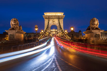 The Chain Bridge With Traffic Light Trails, Budapest, Hungary