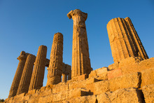 Sandstone Columns Of The Temple Of Hera (Temple Of Juno), Valley Of The Temples, Agrigento, Sicily, Mediterranean
